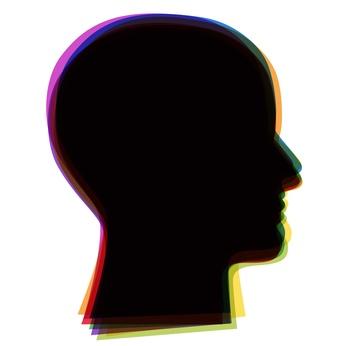 Menschlicher Kopf im Profil mit bunter Aura, Vektor/freigestellt